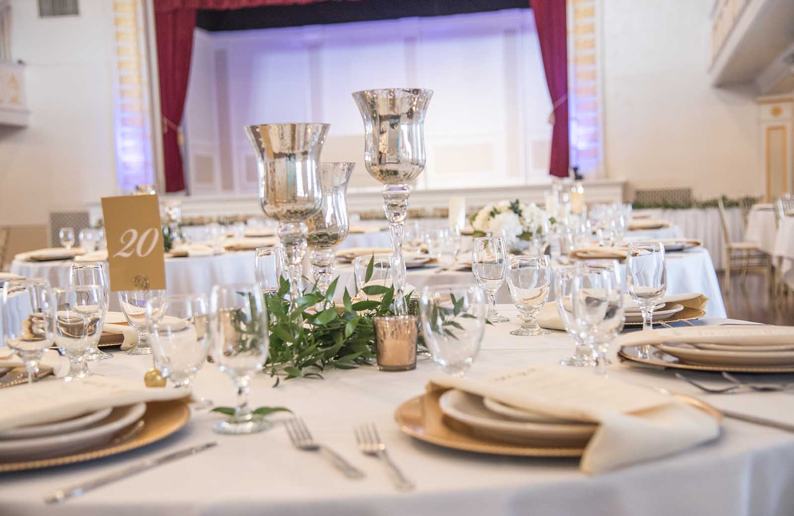 Place settings at the Lafayette Grande, in the Grande Ballroom. - pictures